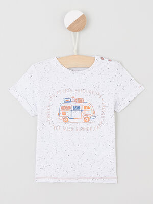 T shirt manches courtes dessin devant ecru garcon