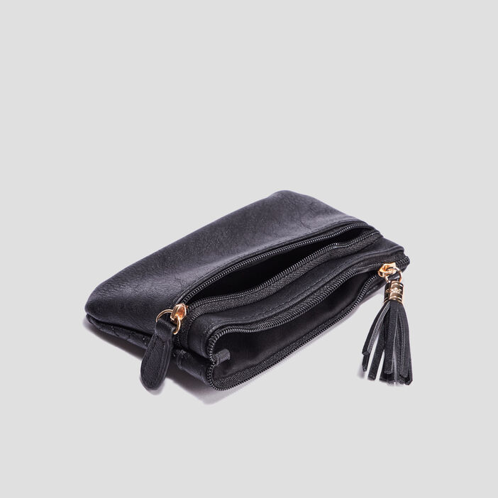 Porte-monnaie matelassé femme noir