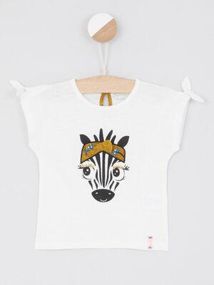 T shirt imprime zebre devant ecru fille