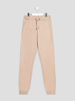 Pantalon jogging droit beige fille