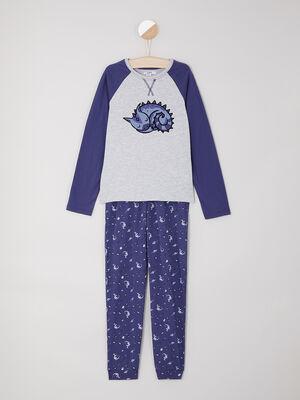 Pyjama long T shirt raglan bleu garcon