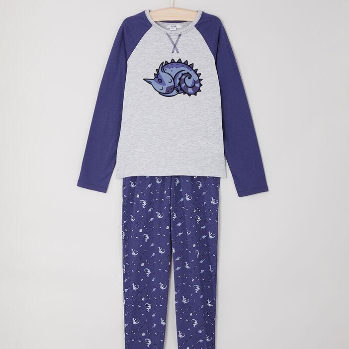 Pyjama long T-shirt raglan garçon bleu
