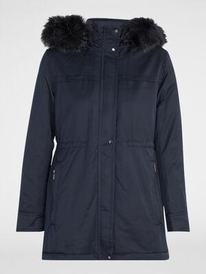 Manteau a capuche fourrure synthetique bleu marine femme