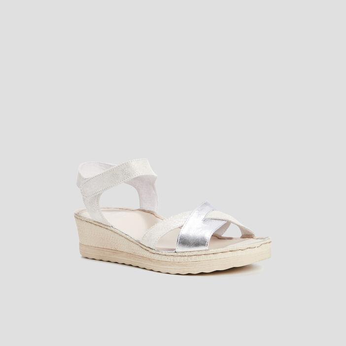 Sandales compensées femme couleur argent
