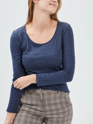 T shirt a manches longues bleu marine femme