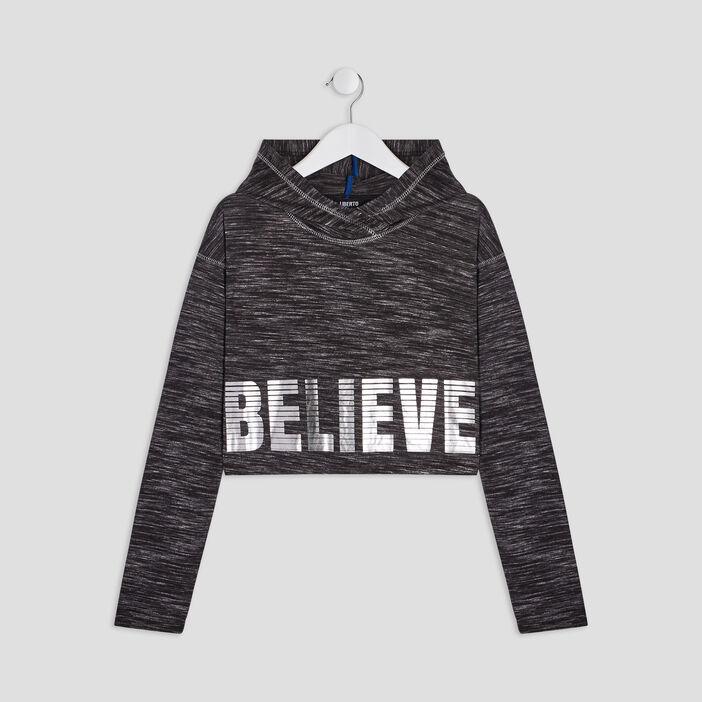 T-shirt à capuche Liberto fille gris foncé