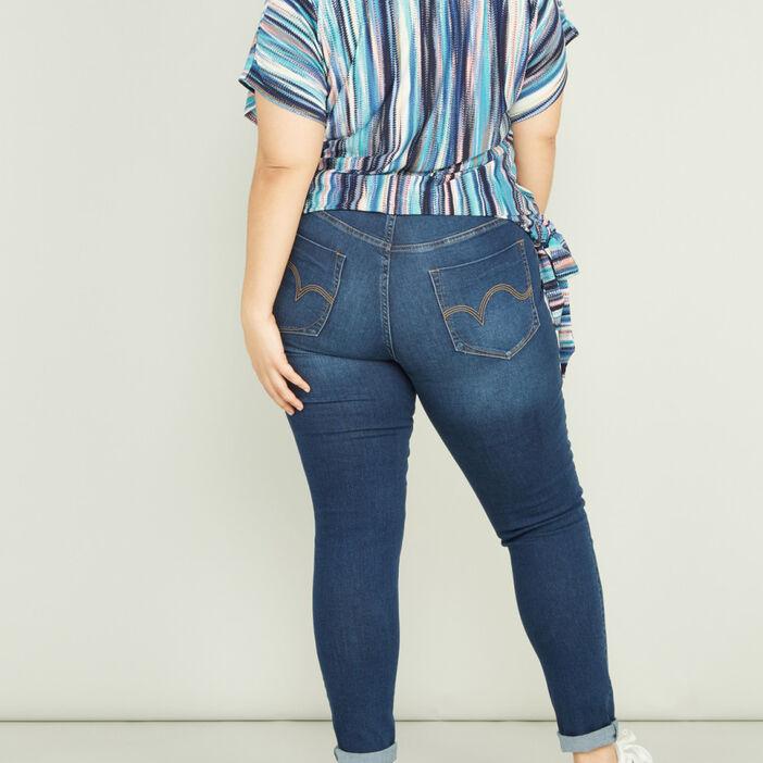 Jeans slim taille ajustable femme grande taille denim brut
