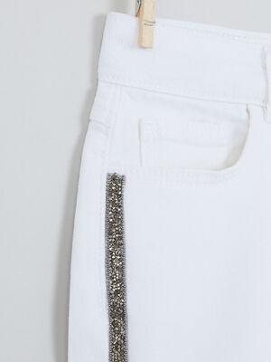 Short avec bandes cloutees blanc fille