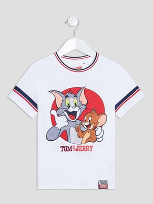 T shirt Tom et Jerry blanc garcon