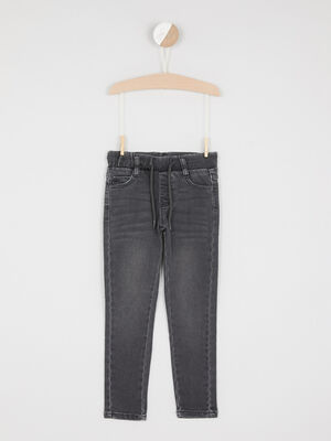 Jeans slim taille a coulisse gris garcon