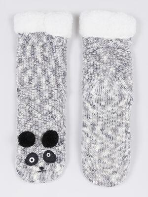 Chaussettes dinterieur panda gris femme