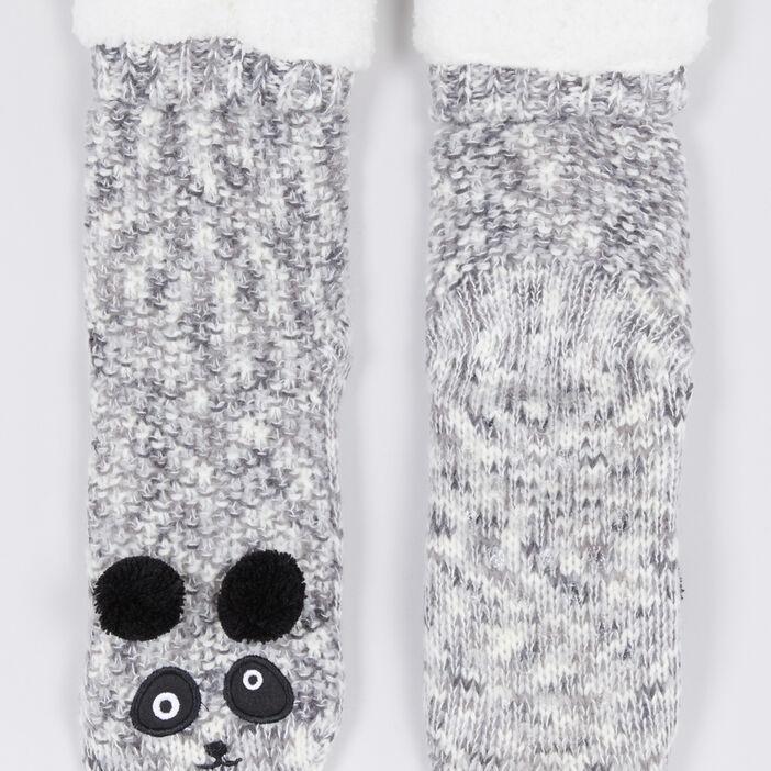 Chaussettes d'interieur panda femme gris