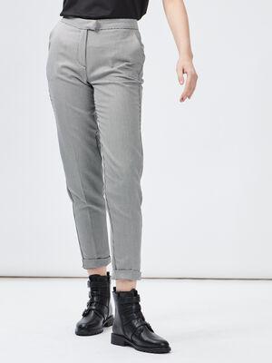 Pantalon droit a pinces blanc femme