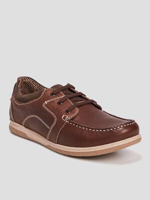 Chaussures bateau en cuir Trappeur marron homme