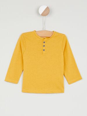 T shirt coton uni col boutonne jaune garcon