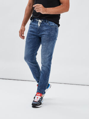 Jeans skinny taille a coulisse bleu gris homme