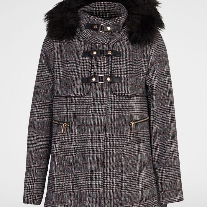 Manteau à carreaux et brandebourgs femme multicolore