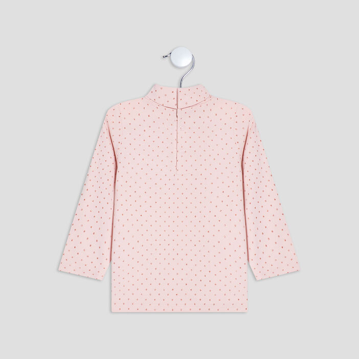 T-shirt à col roulé bébé fille rose clair