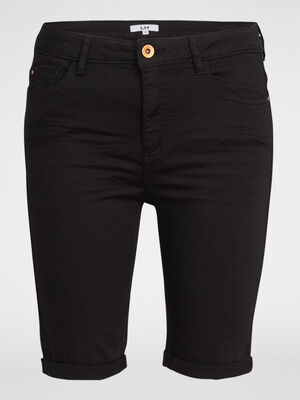Bermuda 5 poches uni noir femme