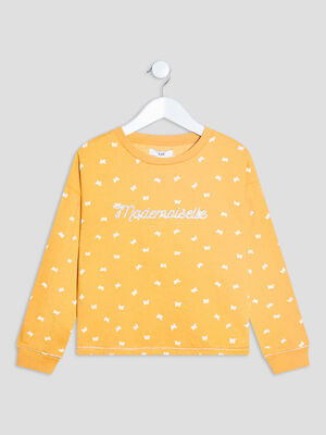Sweat manches longues jaune moutarde fille