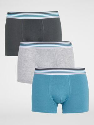 Lot de 3 boxers coton majoritaire bleu canard homme