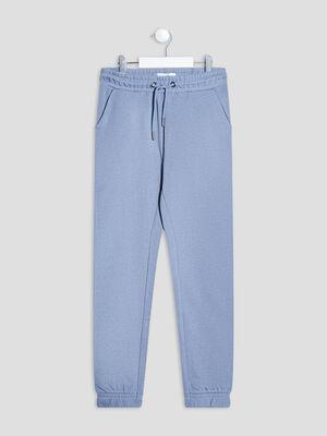 Pantalon jogging droit bleu fille