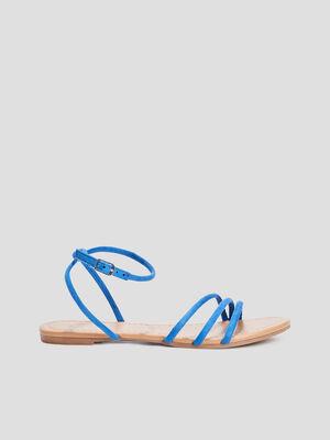 Sandales plates a brides bleu femme