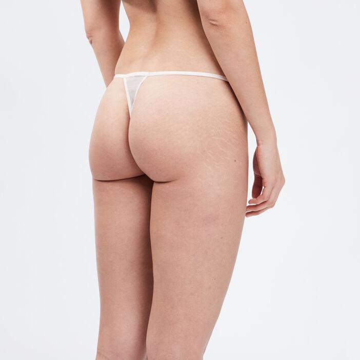 String en dentelle avec laçage femme rose clair
