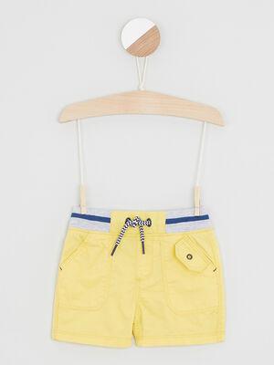 Bermuda coton a taille elastiquee jaune garcon