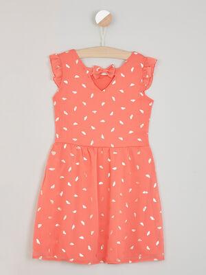 Robe droite imprime brillant orange corail fille