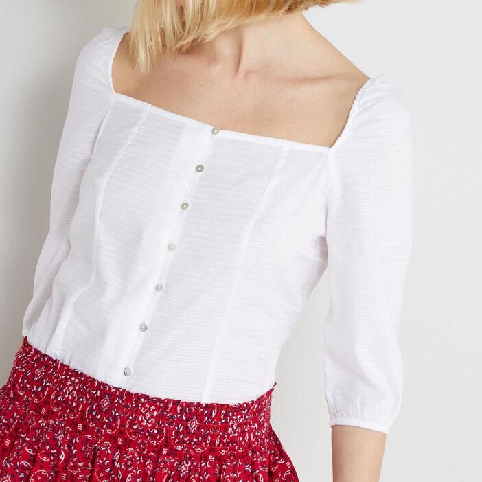 Tunique avec encolure carrée femme blanc