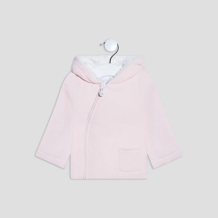 Gilet à capuche bébé fille rose clair