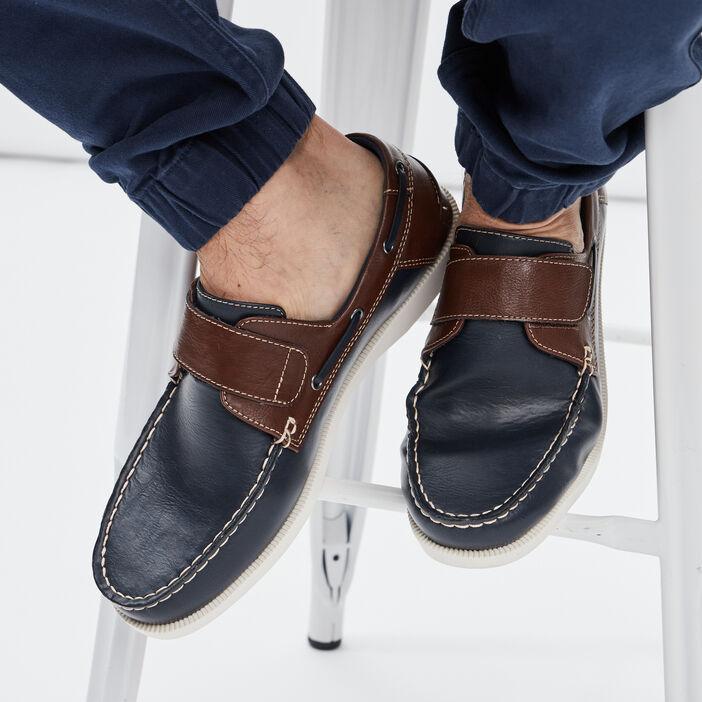 Chaussures bateau à scratch homme bleu