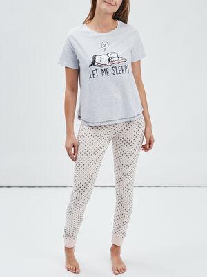 Ensemble pyjama Snoopy gris femme