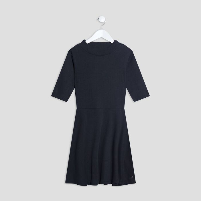 Robe patineuse manches 3/4 fille noir