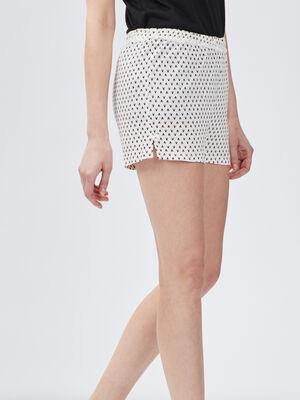 Bas de pyjama short blanc femme
