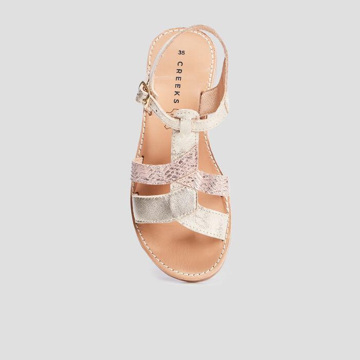 Sandales irisées en cuir Creeks fille couleur or