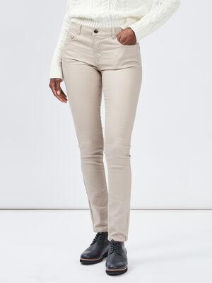 Pantalon skinny taille basse beige femme