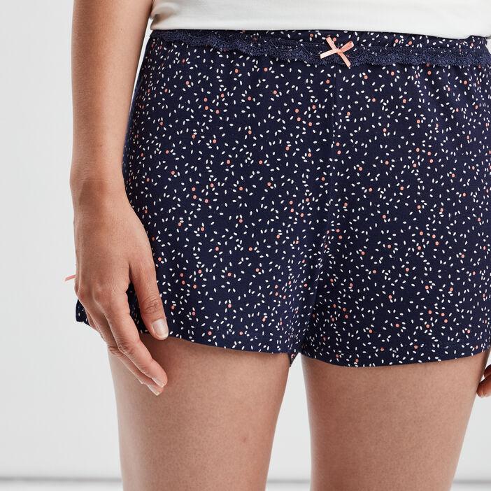 Bas de pyjama short femme bleu marine