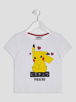 T shirt Pokemon blanc fille