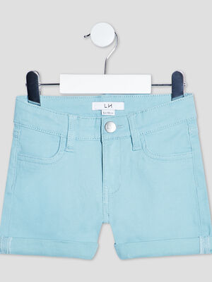 Short slim taille ajustable bleu fille