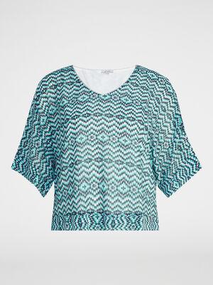 Chemise coupe T imprime graphique bleu turquoise femme
