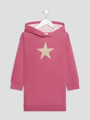 Robe droite a capuche rose framboise fille