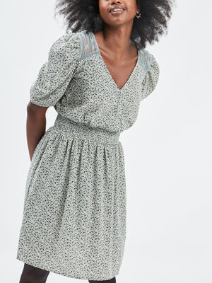 Robe droite taille elastiquee vert pastel femme