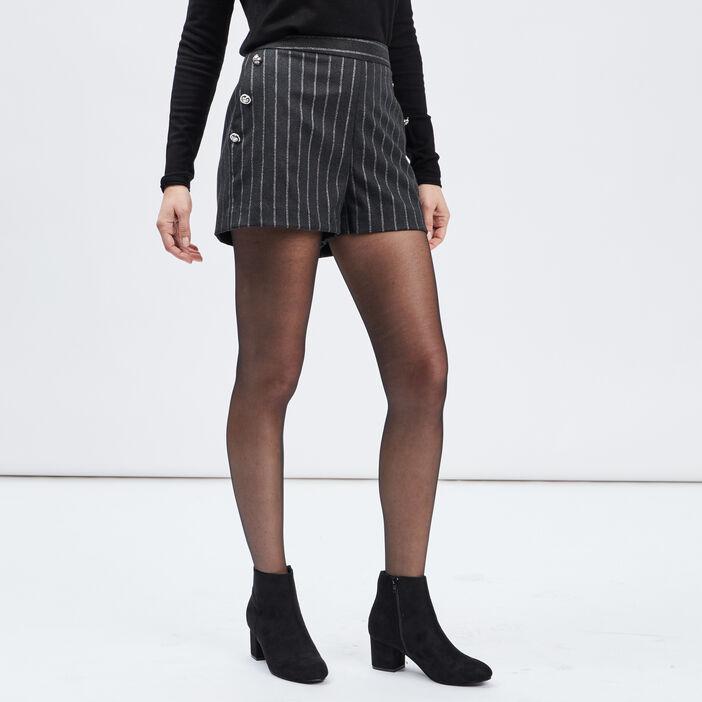 Short ample à pont femme noir