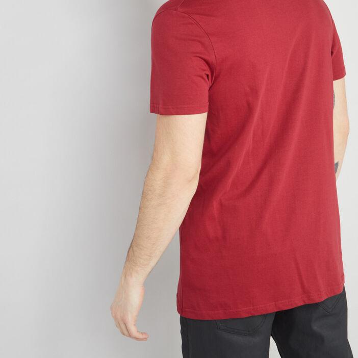 T-shirt col V en coton homme bordeaux