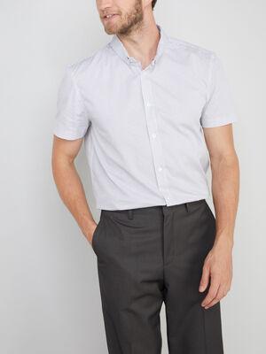 Chemise droite en coton imprimee blanc homme