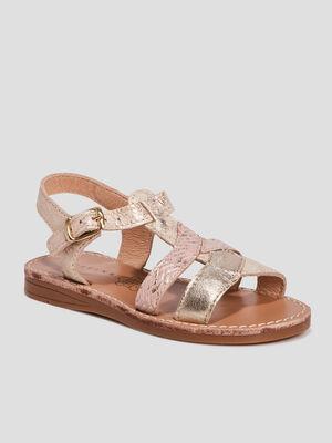 Sandales en cuir Creeks couleur or fille