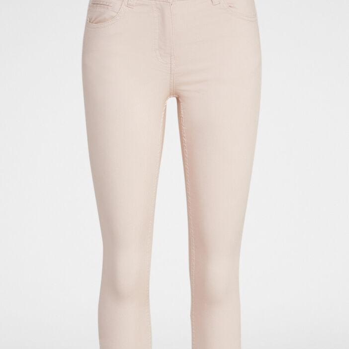 Pantacourt slim en jean femme rose clair