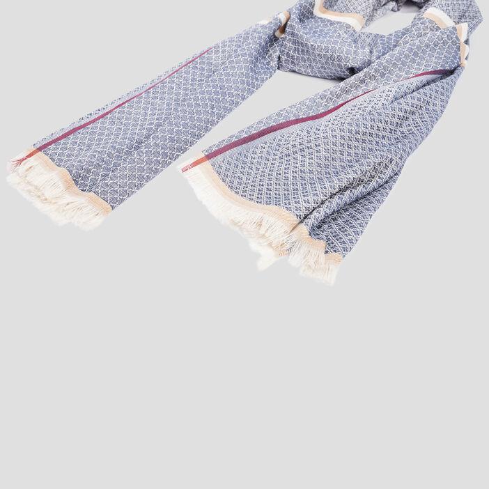 Écharpe à franges mixte bleu